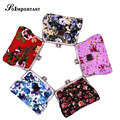 Women Wallet And Coin Purse Multi Floral Canvas Coin Bags Female Double Clip Card Kawaii Coin Case Women Coin Pouch Billetera