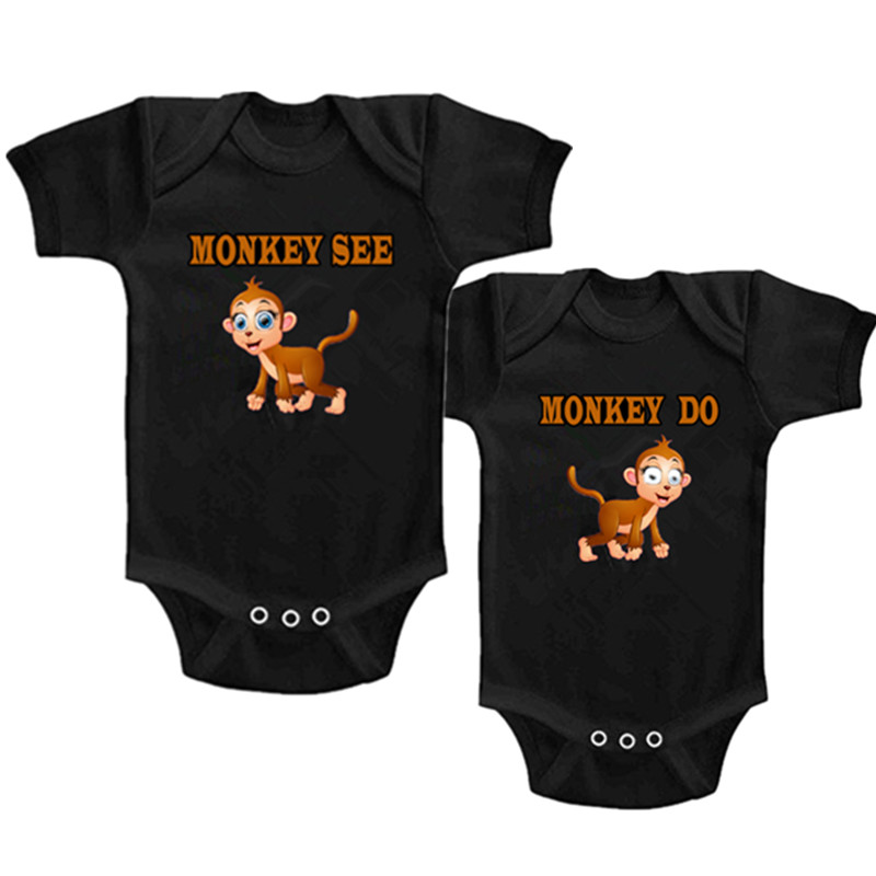 YSCULBUTOL Twins Baby cotton Clothing Boys Girl Monkey see or do bodysuit 2 of baby set 0-12M