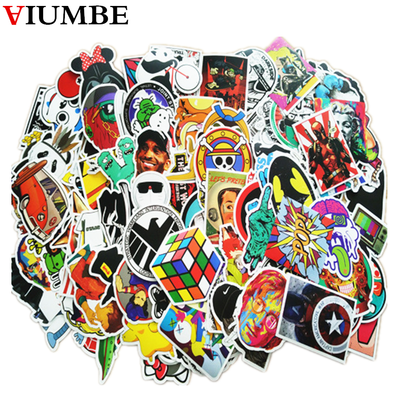 100 PCS / Pack Mixed 2018 New Funny Car Stickers And Decals Cartoon Anime DIY Sticker For Laptop Luggage Phone Car Styling Home