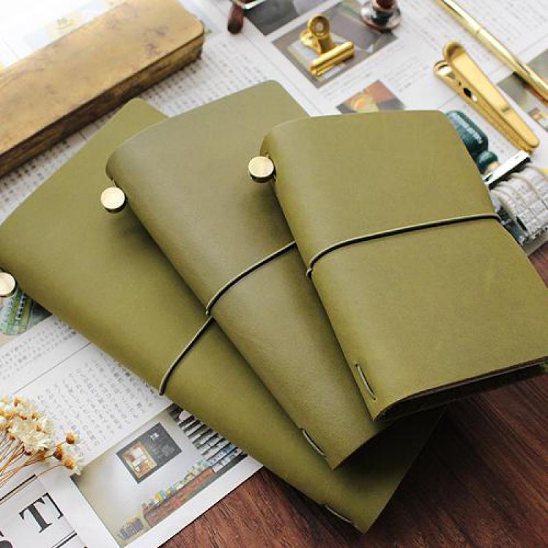 DinThenon Vintage Notebook Jurnal Olive Green Planificator de Piele - Blocnotesuri și registre - Fotografie 5