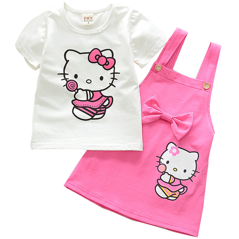 Baby Girls Clothing Sets Hello Kitty Summer Cartoon Printed Short Sleeve White T Shirt Belt Bow Dress 2Pcs Girls Clothes Sets menoea girls dress new 2018 clothes 100% summer fashion style cartoon cute little white cartoon dress kitten printed dress
