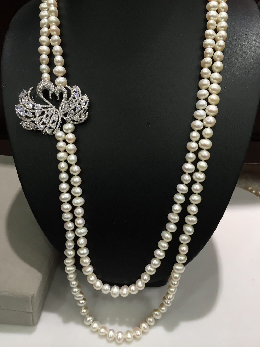 Double Swan Natural 8 9mm Pearl Necklace Long Necklace Pearl Necklace Necklace Double 24 25inch