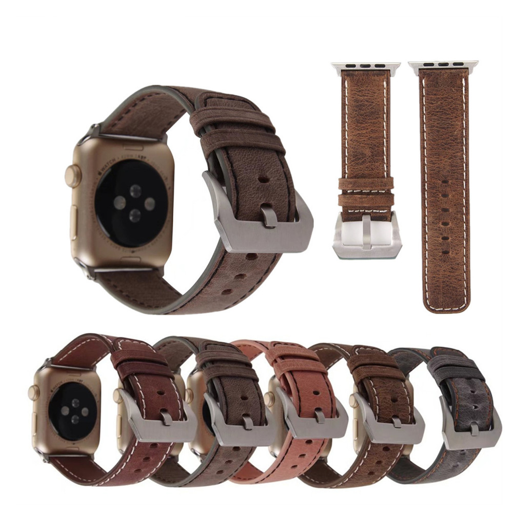 Retro Leather Watch Band Strap for Apple Watch band 42 mm 38 mm replacement Wrist Watch Bracelet for iwatch band  1 2 eache silicone watch band strap replacement watch band can fit for swatch 17mm 19mm men women