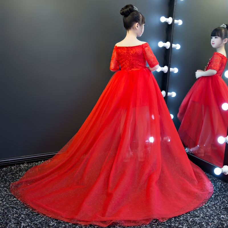 Red Royal Shoulderless Long Tailing Princess Flower Girls Dress Backless Appliques Ball Gown Kids Pageant Dress For Wedding M44 2018 royal princess shoulderless flower ball gown dress long tailing sweet luxury backless kids pageant for birtyday party dress