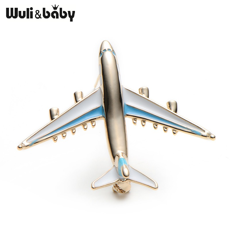Alloy Airplane Brooch Pin Enamel Red Blue Plane Luxury Brand Brooches - Perhiasan fesyen - Foto 3