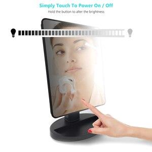 Image 2 - LED Touchscreen Make Up Spiegel Professionelle Eitelkeit Spiegel Mit 24 Led leuchten Gesundheit Schönheit Einstellbare LED Spiegel 180 Rotierenden
