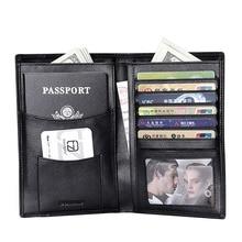 Teemzone Tout-en-un Design Compact Véritable Carte de Crédit En Cuir Titulaire Organisateur Noir Verticle Hommes Pliante Passeport Portefeuilles J30