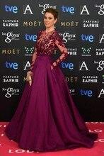 Grape Purple Elegant Long Sleeve Evening Dress 2016 Sheer Neck A Line Satin Tulle Special Occasion Dresses abendkleider lang