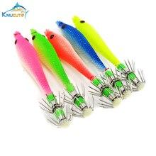 5pcs luminous squid hook 2# 9cm soft jigs 5 colors fishing baits
