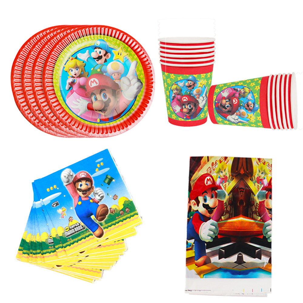 Super Mario Theme birthday party disposable Tableware Set Plates Cups Napkins Cupcake Topper Balloons Baby Shower party supplies in Disposable Party Tableware from Home Garden