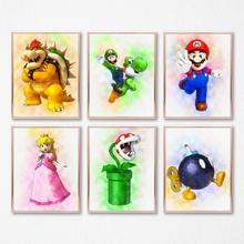 Super Mario i inne znaki akwarela plakat na płótnie drukuje klasyczna gra obrazy dekoracje ścienne dla dzieci pokój dekoracja w stylu kreskówki tanie tanio Płótno GAME Wodoodporny tusz aooins Malowanie natryskowe PH1126-PH1131-190103 Klasyczne Pojedyncze Unframed Płótno wydruki