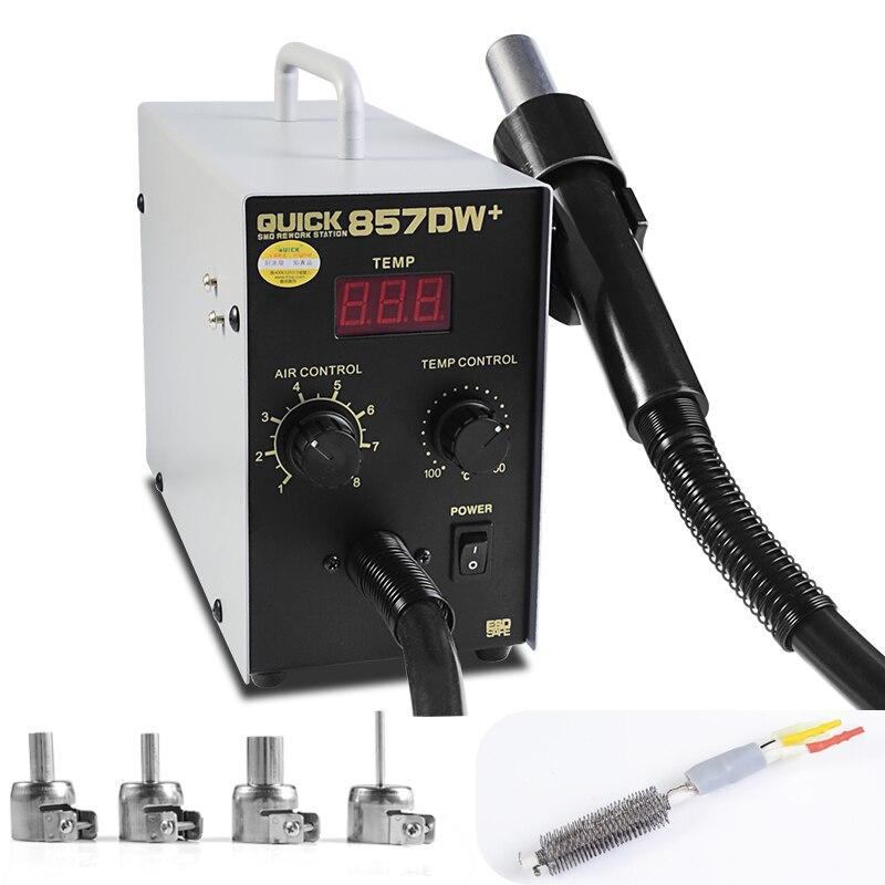 QUICK 857DW+Adjustable Hot Air Gun Station with Heater Helical Wind 580W SMD Rework Station Hot Air Gun soldering Rework Station