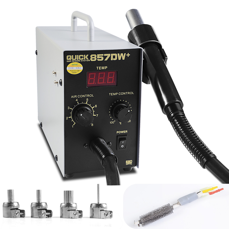 QUICK 857DW+ Soldering Station 850W Adjustable Hot Air Gun Station with Heater Helical Wind Air Gun SMD Hot Rework Station