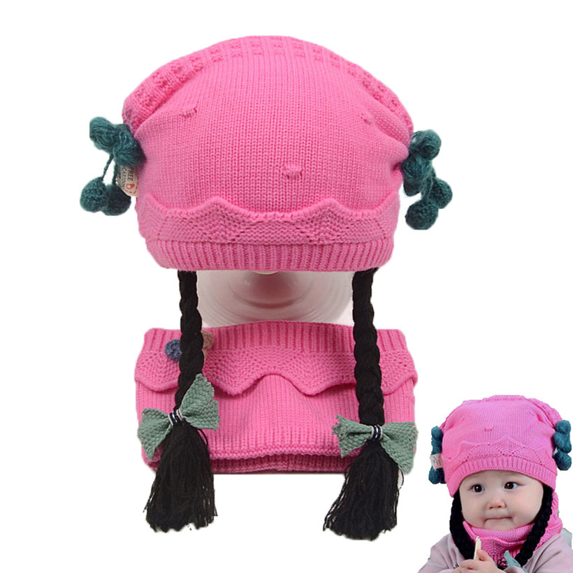 Winter Warm Baby Hat Scarf Set For Girls Long Braid Wigs Knit Beanie Hats With Bow Children Skullies Cap And Scarves 2 Pcs Suit