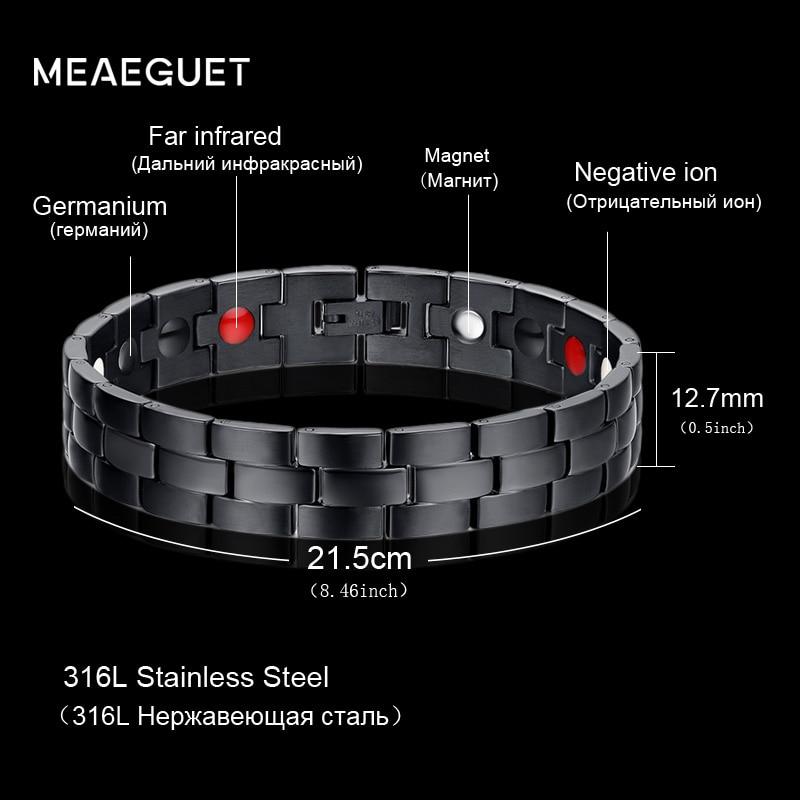 Meaeguet Men's Stainless Steel Bracelet Black Magnetic Charms Bracelets &Bangles 218mm Healthy Energy Bracelets stainless steel pressure reduction magnetic bracelets bangles black blue