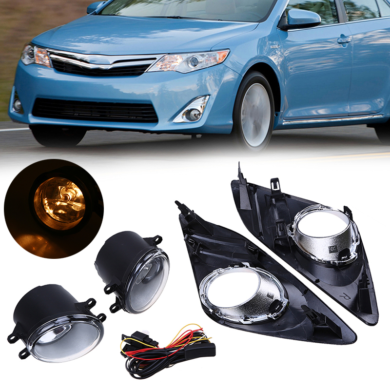 POSSBAY For 2012-2014 Toyota Camry XV50 LE/XLE Car Styling Front Bumper Halogen Fog Lights High Quality Fog Lamps 1 Set 2 pcs set car styling front bumper light fog lamps for toyota venza 2009 10 11 12 13 14 81210 06052 left right