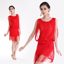 Wholesale Price 4 Colors Sexy Latin Dance Costume Performance Wear Dancing Dress Women Clothes Tassels Skirts