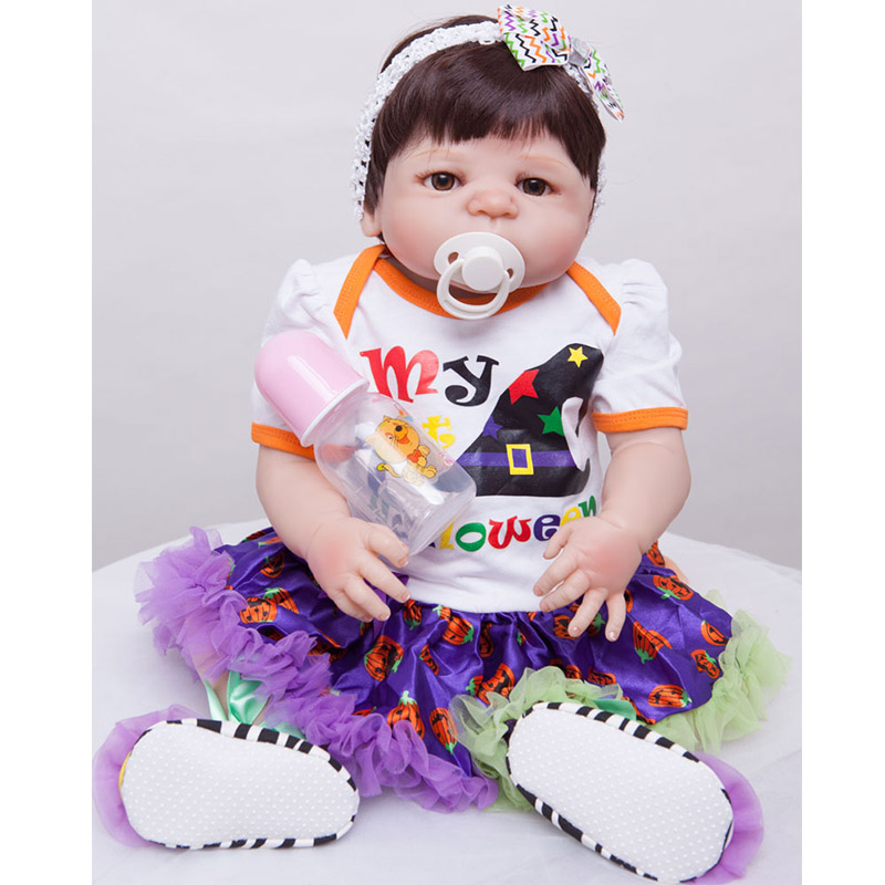 55cm Full Silicone Reborn Baby Doll Toy Realistic 22inch Newborn Princess Toddler Babies Alive Doll With Pacifier Girl Bonecas источник бесперебойного питания apc back ups pro bx650li gr 650вa