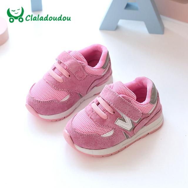 Claladoudou caçoa as sapatilhas do bebê rosa macio menina sole shoes preto respiração menina shoes cinza criança meninos correndo sneaker