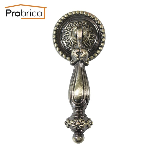 Probrico 10 PCS Vintage Drawer Knob Zinc Alloy Antique Bronze Kitchen Cabinet Handle Furniture Cupboard Pull PS2172AB