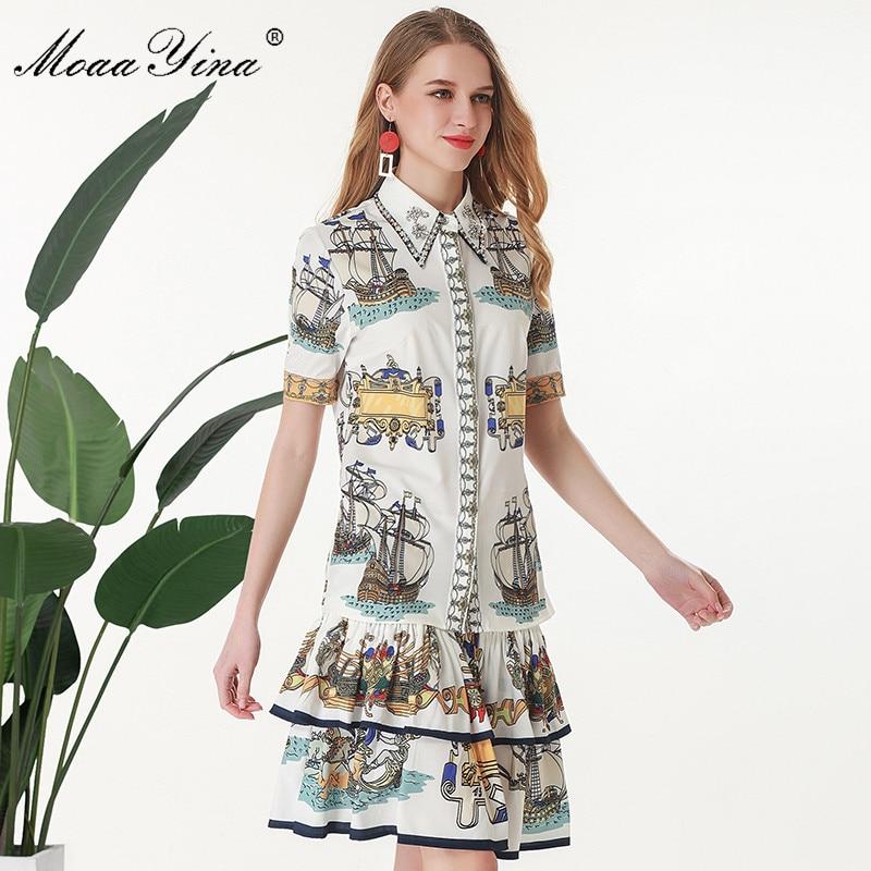 MoaaYina Fashion Designer Set Summer Women Short sleeve Rose Turn-down Collar Beading Print Tops+Cascading Skirt Two-piece set