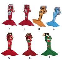 Top Sale Christmas Mermaid Blanket Handmade Knitted Sleeping Wrap TV Sofa Mermaid Tail Blanket Kids Adult