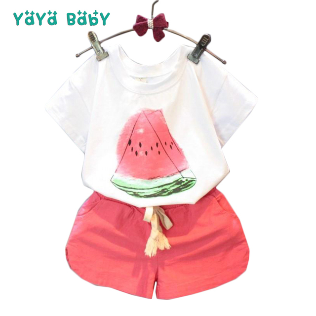 ae4addd39 2018 New Summer Girls clothes Watermelon Pattern Shirts Shorts 2pcs Kids  Suits for Girls Cotton Casual Children Clothing Set