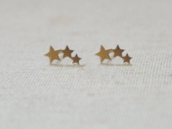 8a372c648 30Pairs- tiny three linking stars stud earring cute 3 star men teens stud  earrings one direction jewelry for men women