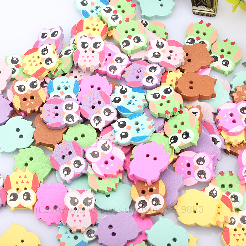 50Pcs Multicolor Wooden OWL Buttons Charms 2 Holes Sewing Craft Scrapbooking Cardmaking Hot DIY Home Decor Cloth Accessories In From