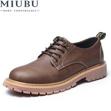 MIUBU New Fashion Italian Men Shoes Luxury Classic Leather Oxfords Designer Waterproof Martin Outdoor Footwear