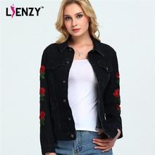 LIENZY American ApparelSpring Women Jacket Rose embroidery Sleeve Vintage Black Grey Women Denim Jacket Coat