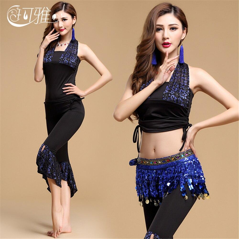 Exotic Dancewear Gold Sequin Costume Belly Dance Costume Set Women Indian Cloth Egypt Tango Dress ChaCha Dance Top Pants Belt