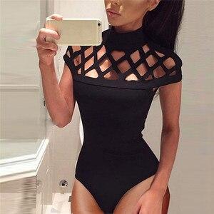 النساء داخلية 2019 مثير أزياء المختنق عالية الرقبة وزرة للنساء مثير محبوس الأكمام بذلة ارتداءها قمم الأسود 73 #45