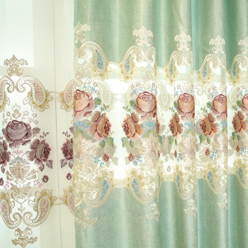 Rideaux Tulle pour Salon Valance pour Chambre Nouveau Fini Brodé Européenne Style Creusé Rose Pivoine Villa