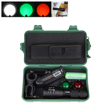 купить 5000 Lumen 5 Modes XM-L T6 LED Tactical hunting Flashlight White&Green&Red Zoomable High power Waterproof Gun Weapon Light по цене 754.87 рублей