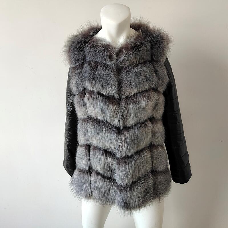 UPPIN шуба Новые Большие размеры меховое пальто с рукавами из искусственной кожи женская зимняя куртка из искусственного меха лисы Женская Осенняя модная теплая верхняя одежда пальто шуба из искусственного меха шубы - Цвет: silver fox