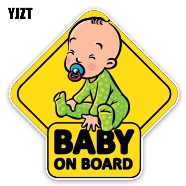 YJZT 14,7*14,7 CM pegatina de coche adorable dibujo animado bebé a bordo decoración gráfica de colores C1-5589