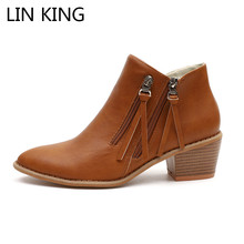 LIN KING Big Size 43 Vintage Women Western Boots Tassel Zipper Ankle Pointed Toe Short Botas Spring Autumn