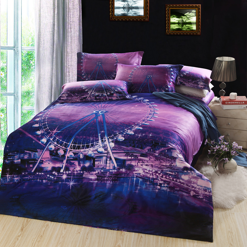 3d Ferris Wheel Design Bedding Set Purple Color Bed Linens