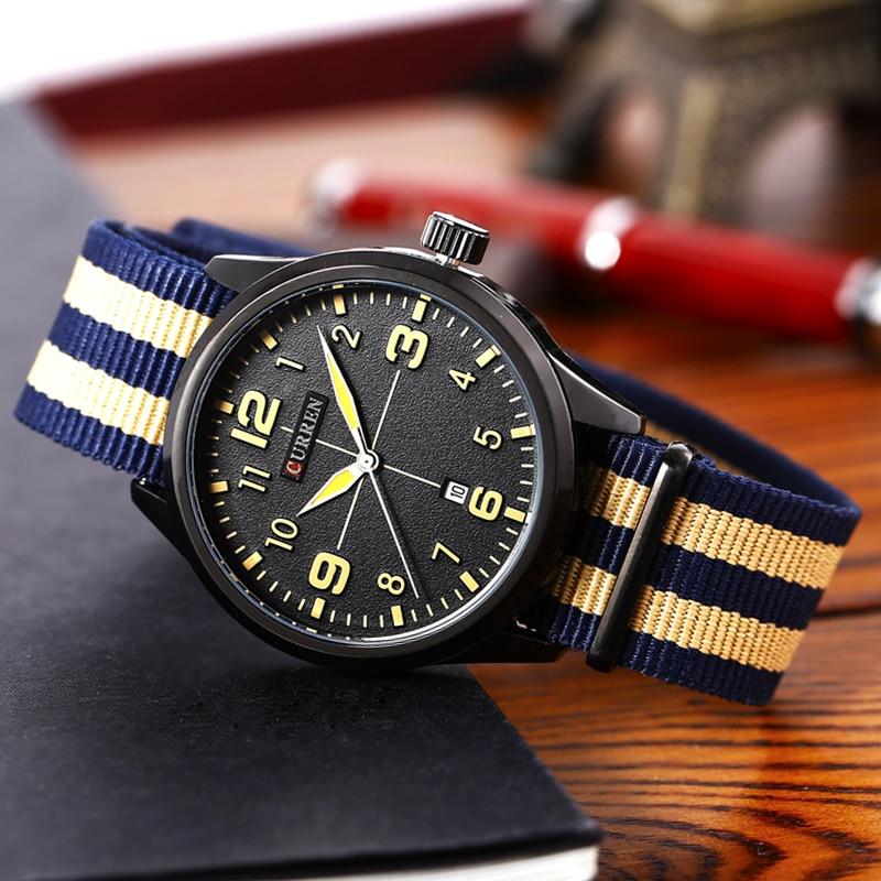 Neue Curren Uhren Herren Top Marke Luxus Herren Nylon Armband - Herrenuhren - Foto 3