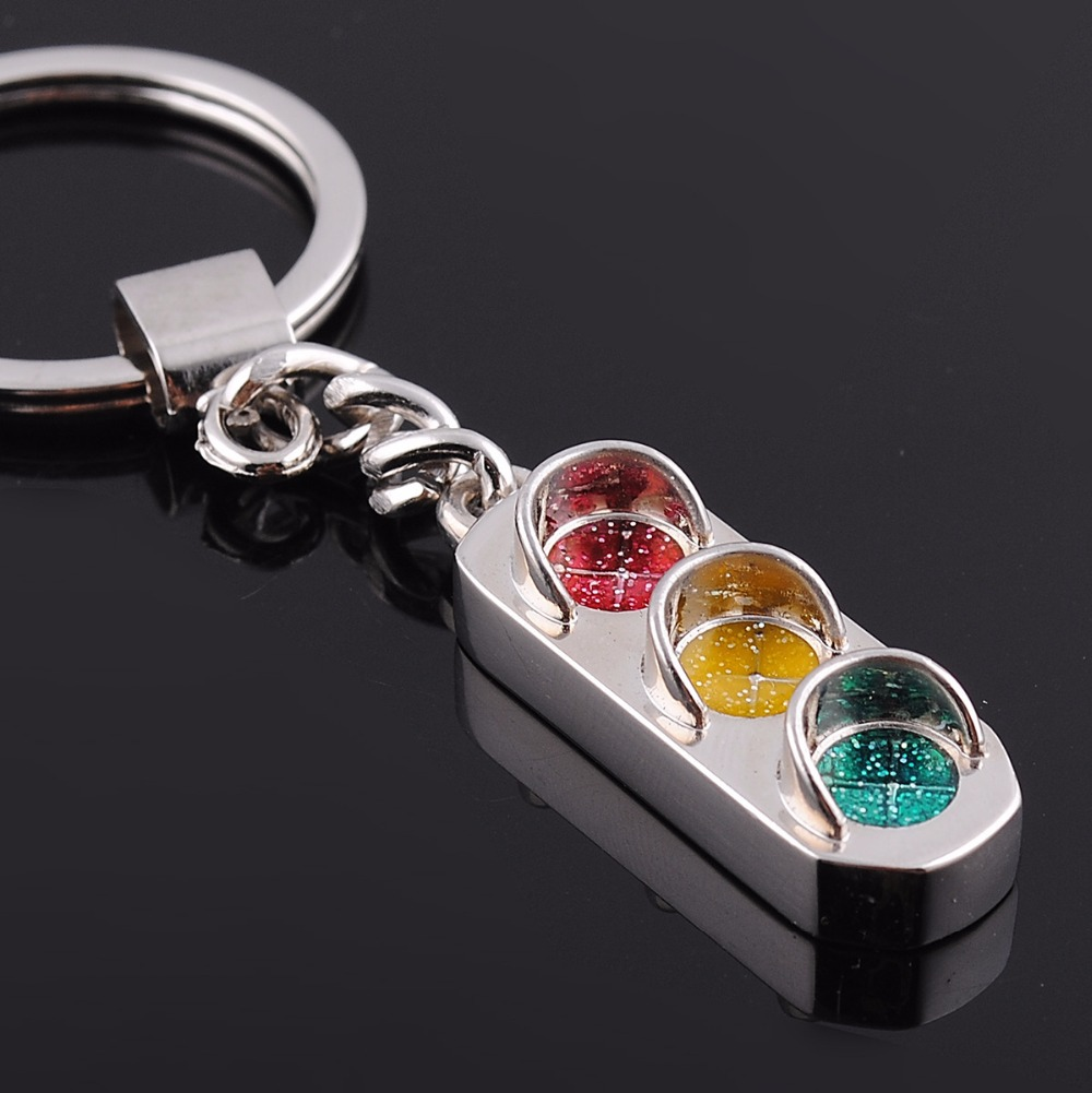 Unique Cute Traffic Light Design Alloy Key Chain, Metal KeyChain Key Ring With 3Colors Traffic Light Color Enamel