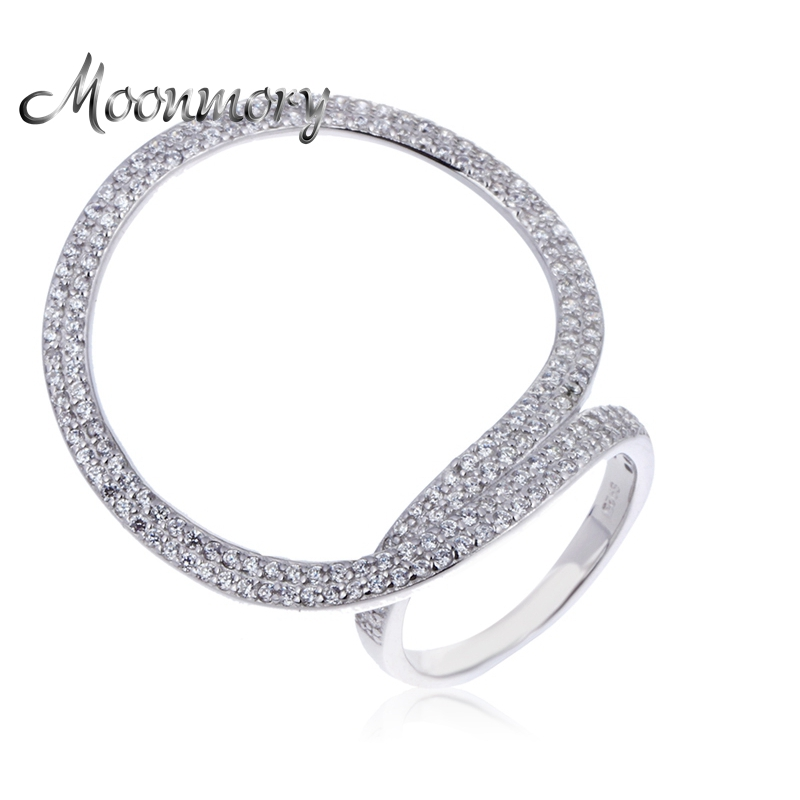 Moonmory 2017 New Arrival Russia Popular 925 Sterling Silver Ring For Women Big Round Wedding Ring With Zircon Wholesale Price