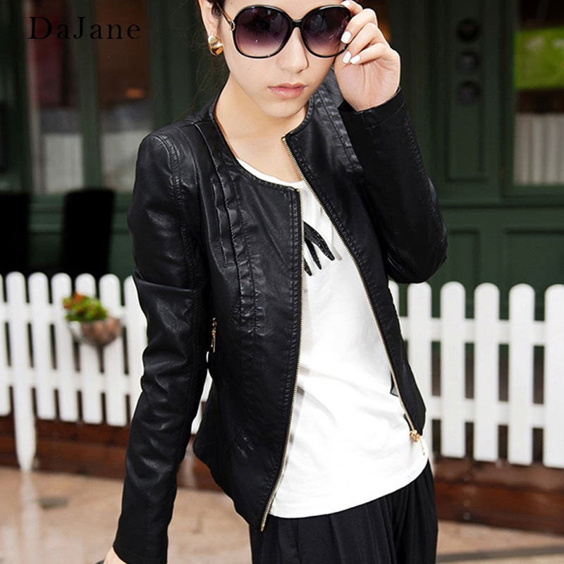 DaJane Autumn New Korean Small   Leather   women's Short Paragraph Slim Round Neck Jacket Washed PU Motorcycle   Leather   Jacket