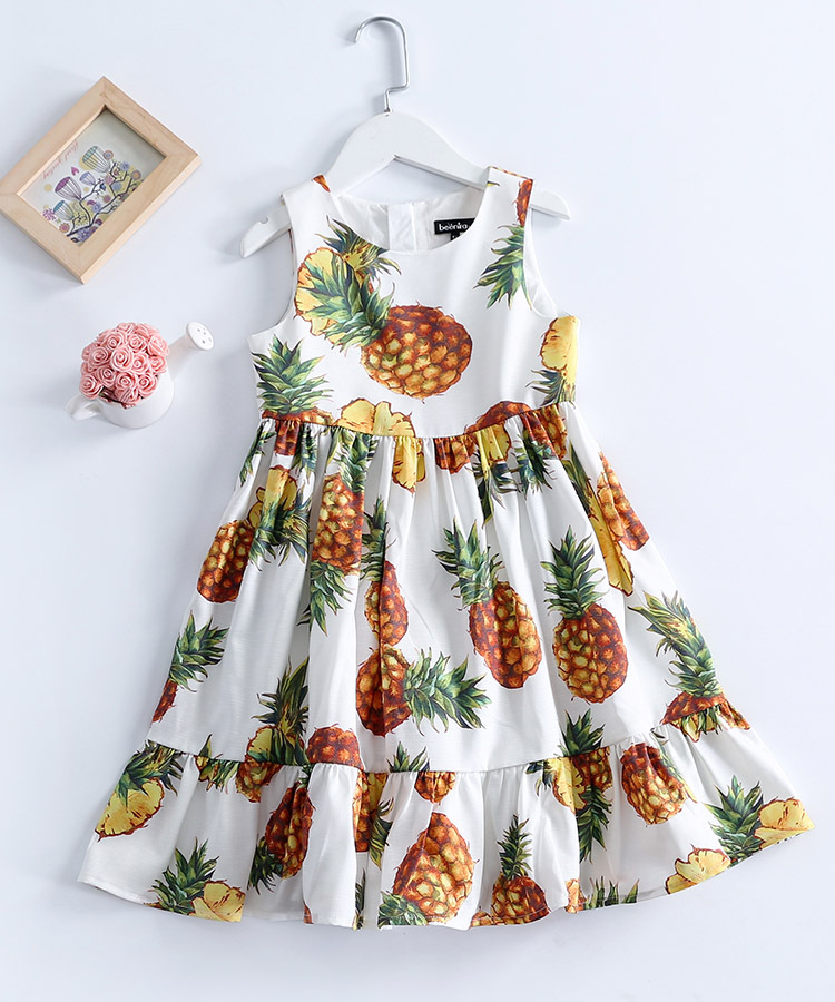 Summer Kids Clothing 1-14Y children pineapple print student big hem patchwork casual dress infant girls holiday beach sundresses mixed print dip hem top