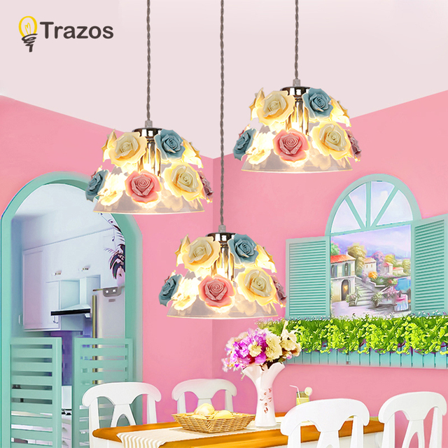 TRAZOS Colorful Macaron Pendant Lights For Dining Round Iron E27 Kitchen Lamp Metal LED Hanging Lamp Restaurant Lighting Fixture