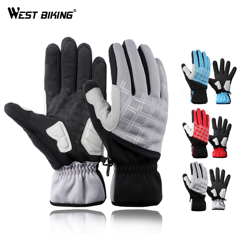 Cycle Gloves Fleece Winter Thermal Reflective Mountain Bike Mittens Grey XL