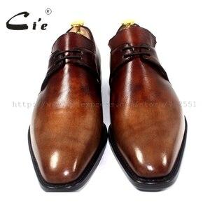 Image 4 - cie Free Shipping Handmade Genuine Calf Leather Mens Dress/Classic Derby Color Brown Patina Square Toe Italian shape Shoe NoD43