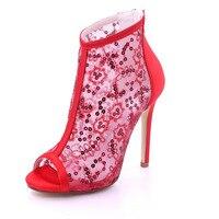 Creativesugar يرى خلال شبكة الترتر المفتوحة تو المرأة مضخات التمهيد الصنادل أحذية عالية الكعب بلينغ حزب مثير أحمر أسود أبيض العاج