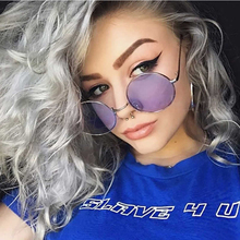 Small Red Retro oval Glasses Sun Female Brand Designer Tiny Metal Frame Flat Lens Oval Mens Shades Cool