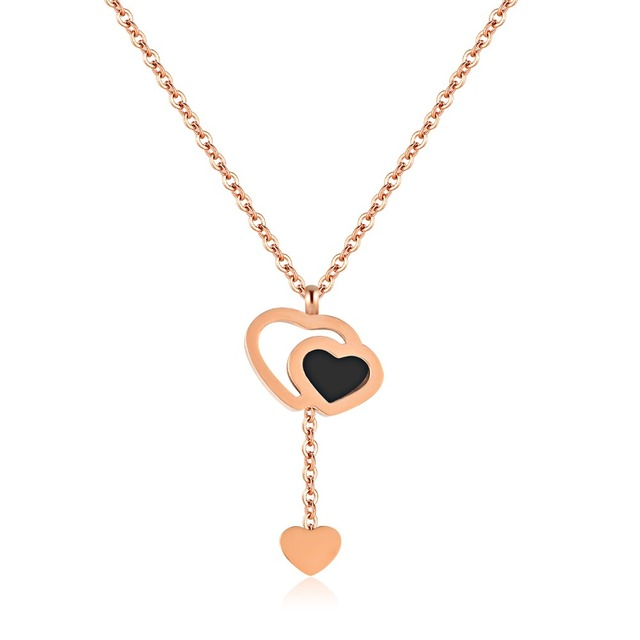 European and American fashion simple titanium steel rose gold double
